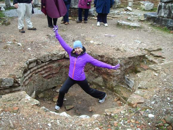 This is me celebrating the excitement of baptism in an early church baptismal font outside Ephesus, Turkey.